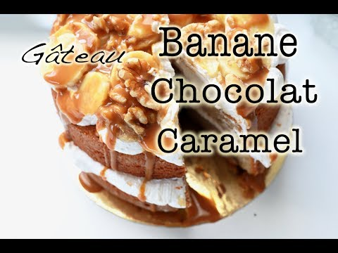 recette-du-layer-cake-banane-chocolat-caramel-/-easy-banana-cake-recipe