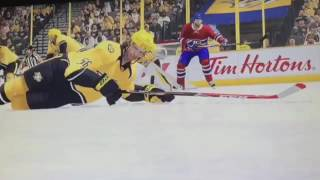 Shea Weber slap shot hits Fiala in the face - NHL 17