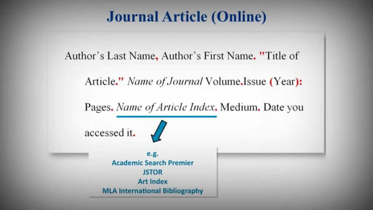 mla style works cited list  citing journal articles