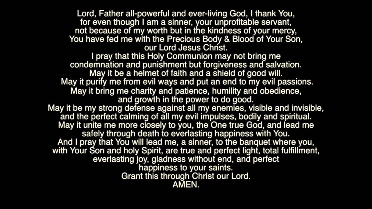 Thanksgiving Prayer after Mass - Thomas Aquinas