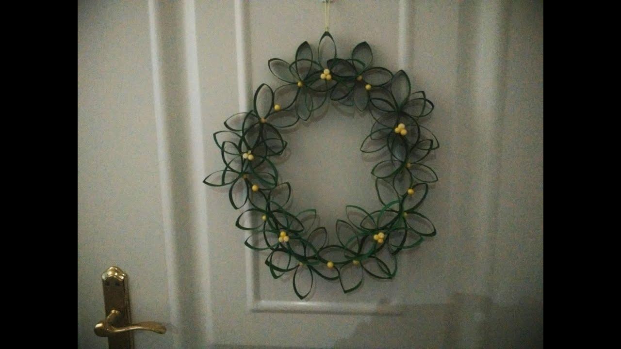 Como hacer una corona de navidad con tubos de carton youtube - Como hacer coronas de navidad ...
