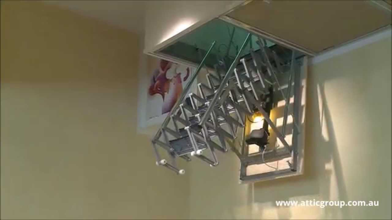 Fantozzi electric attic ladder attic group youtube Motorized attic stairs