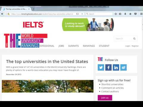 World University Rankings.. the top universites in the united States