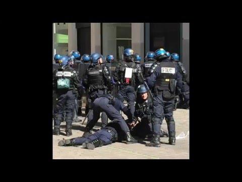 Nantes un policier blessé à la tête pendant la manifestation