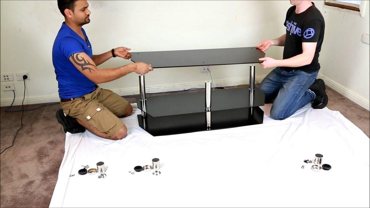 140cm LCD Plasma Black Tempered Glass TV Stand
