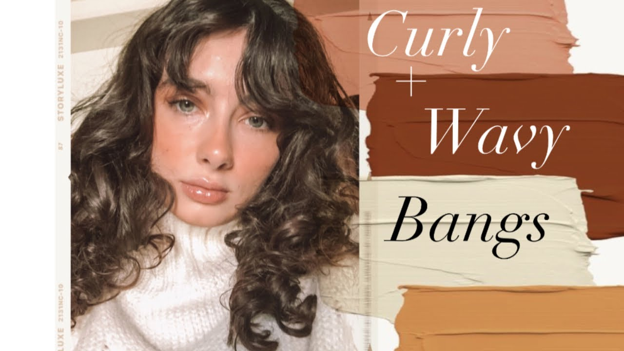How I Cut Style My Curly Wavy Bangs Youtube