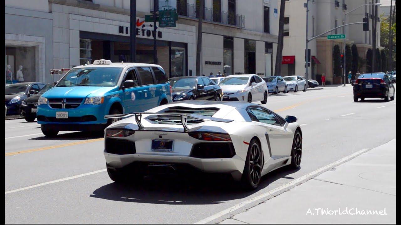 Ferrari Beverly Hills >> Beverly Hills Car Spotting! DMC Lamborghini Aventador, Gallardo Acceleration | Ferrari F40, 599 ...