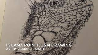 Iguana Pointillism Drawing