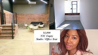 $1,000 NYC Empty Studio Tour!  Searching for a Loft Office Space in New York | Nyasia C