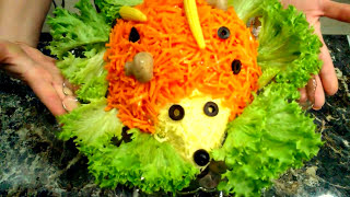 Салат Ёжик. Салат Ёжик с корейской морковкой. Салат Ежик с куриной грудкой. Салат Ежик с грибами.