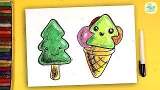 Как нарисовать МОРОЖЕНОЕ - ЕЛКУ на Новый год / урок рисования для детей