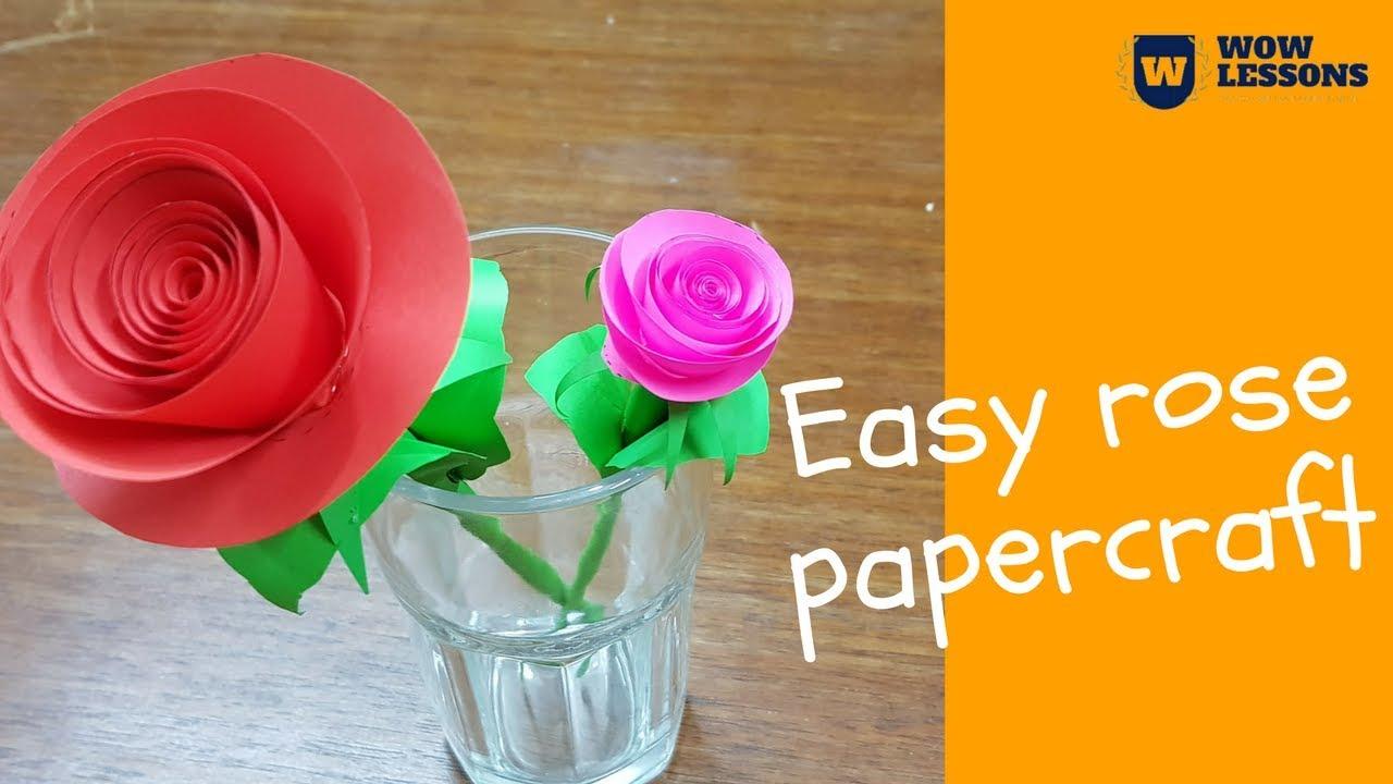 Diy Paper Rose Flower Diy Paper Flowers How To Make Paper Rose