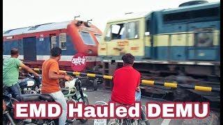 EMD Hauled DEMU : BGKT WDG4 hauled Churu - Bikaner DEMU Passenger
