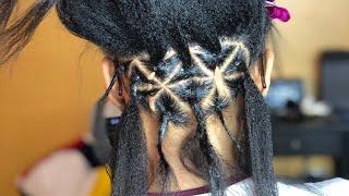 Rubberbands Rip Out Hair  Medium Triangle Part Box Braids