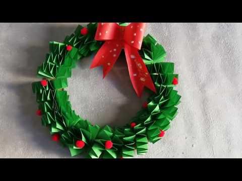 Как сделать Рождественский / Новогодний венок из бумаги своими руками