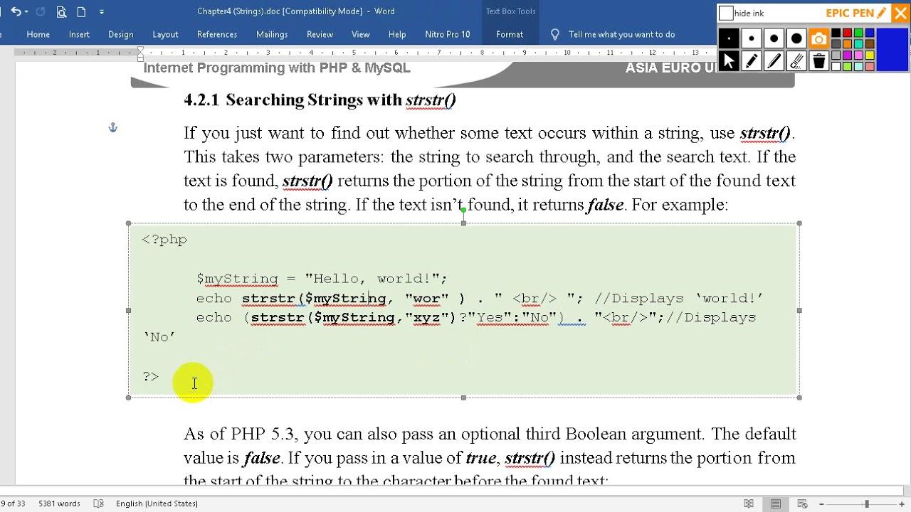 របៀបប្រើប្រាស់ function strstr() សម្រាប់ស្វែងរកអក្សរ (How to using strstr() function)