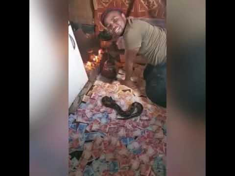 Man praising his Snake as it vomits money