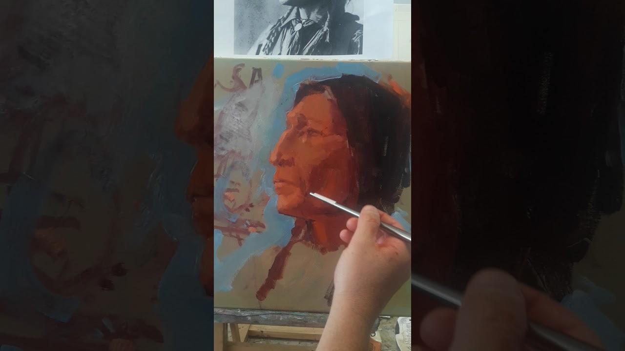 Видео урок живописи маслом  портрет индеец.Как написать старика. Онлайн с Макс Скоблинский .