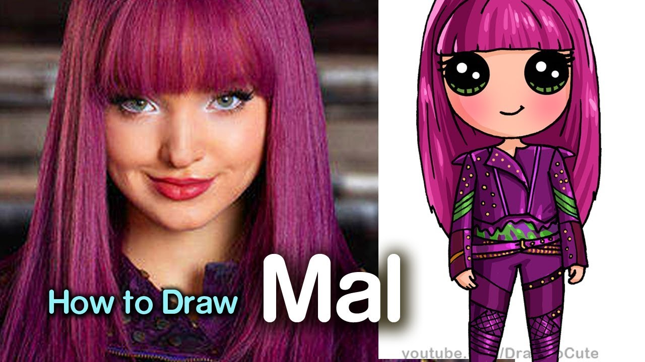 How to Draw Mal Easy | Disney Descendants 2 - YouTube