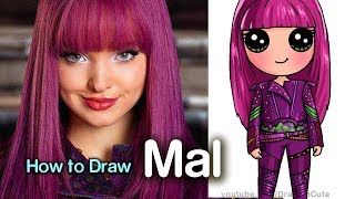 How to Draw Mal Easy | Disney Descendants 2