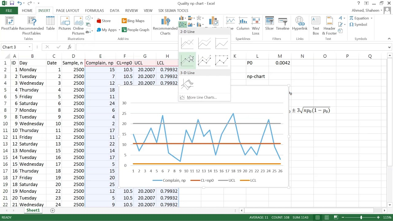 Attribute Control np chart MS Excel
