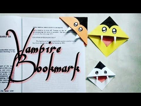 Halloween DIY : Easy Vampire Bookmark Corner - Halloween Bookmark DIY - Halloween Paper Crafts
