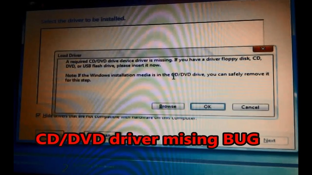 The CD/DVD drive does not display