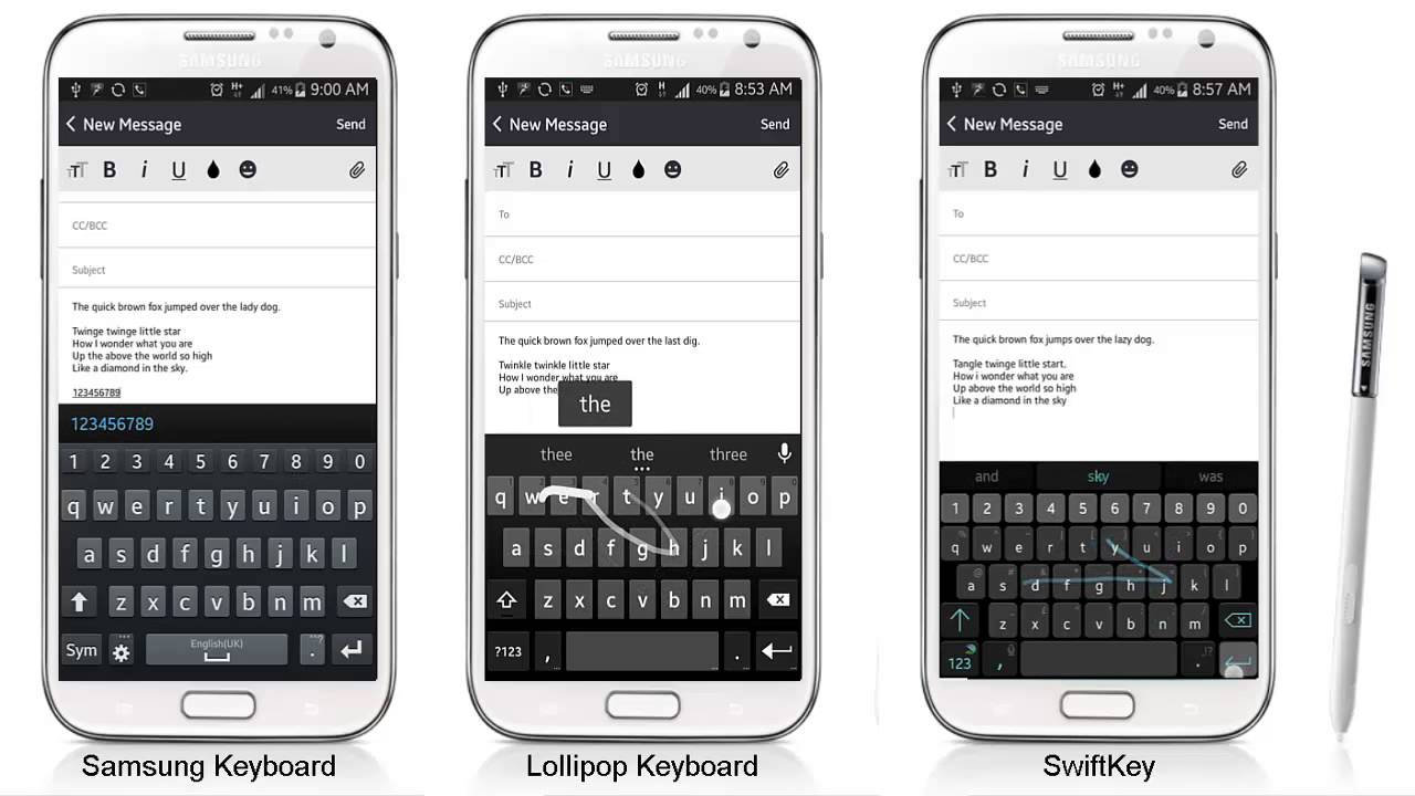 Android Keyboard, SwiftKey, Lollipop keyboard, Samsung