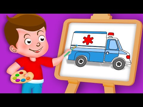 Drawing Ambulance Paint And Colouring For Kids   Kids Drawing TV