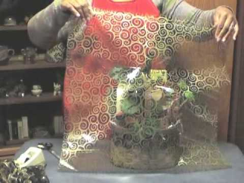 How To Wrap A Gift Basket With Cellophane Youtube