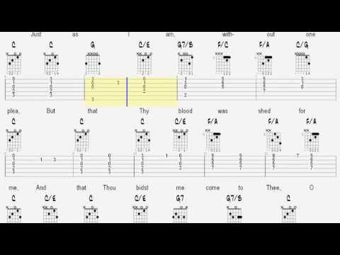 Learn Guitar Hymns - Just As I Am - Invitation Song - Tablature and Chords