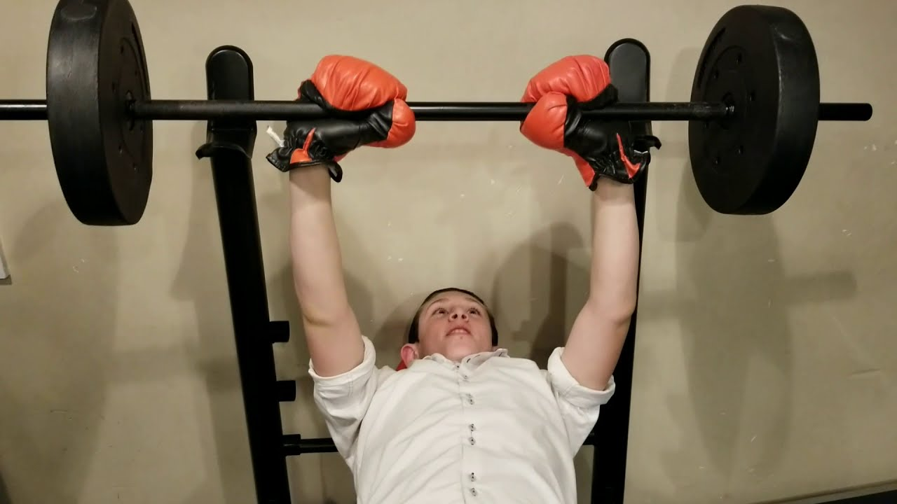 BENCH PRESS CHALLENGE! My Father Bet Me $100 To Lift Weights With Punching Gloves on! :)