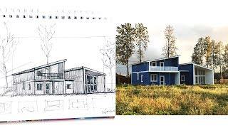 Как нарисовать дом в перспективе ручкой? Видеоурок 01