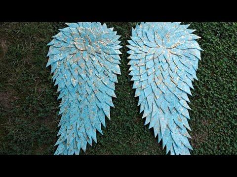 Huge DIY Paper mache GOLDEN leaf angel wings.