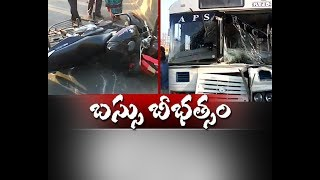 major mishap at vijayawada   rtc bus rams into public   kills 2 injures several