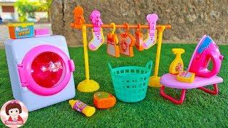 แกะรีวิวของเล่นเครื่องซักผ้า ตุ๊กตาบาร์บี้ ละครบาร์บี้ บ้านบาร์บี้ Barbie Toys