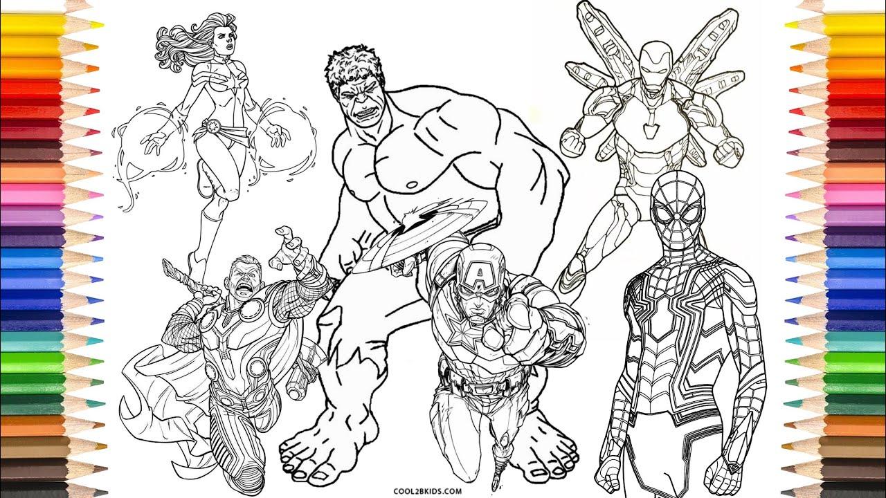 AVENGERS Endgame Coloring Pages | Iron-Man, Hulk, Thor ...