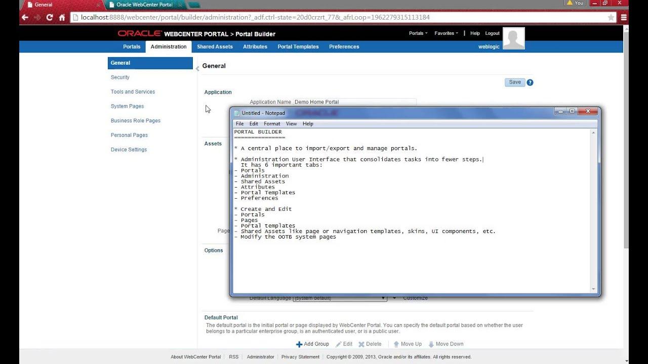 Portal Builder Part 1 WebCenter Portal Demo