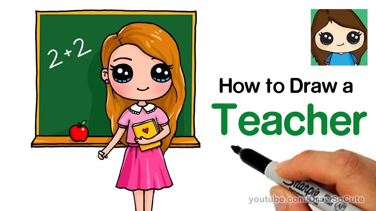 how to draw a teacher easy back to school [ 1280 x 720 Pixel ]