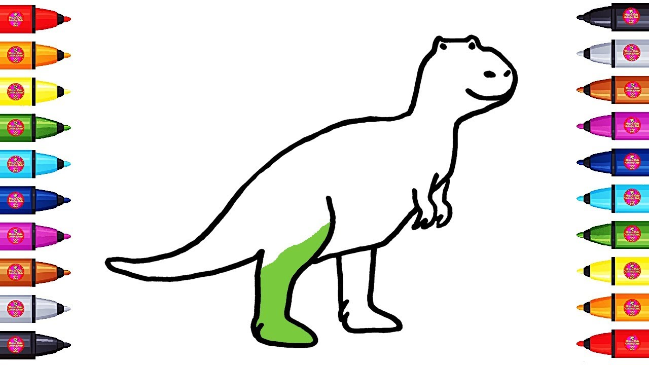 drawing and coloring t rex how to draw dinosaurs for kids youtube