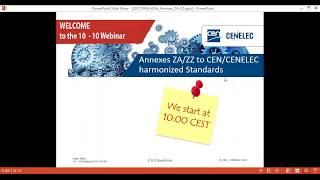 CEN and CENELEC 10-10 webinar: Annexes ZA/ZZ to CEN/CENELEC Harmonized Standards