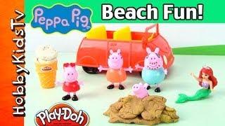 PLAY-DOH Peppa Pig George Mummy Daddy at Beach! Disney Princess Ariel Visits by HobbyKidsTV