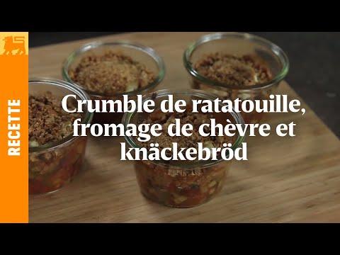 Crumble de ratatouille, fromage de chèvre et knäckebröd