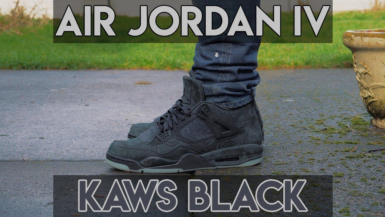 check out 7236f d62f0 KAWS x Jordan IV Collab (Black) Review + On Foot