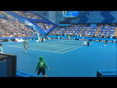 Roger Federer Vs. Daniel Evans Full Match / Court Level / Hopman Cup 2017 Round 1 SUI vs. GBR
