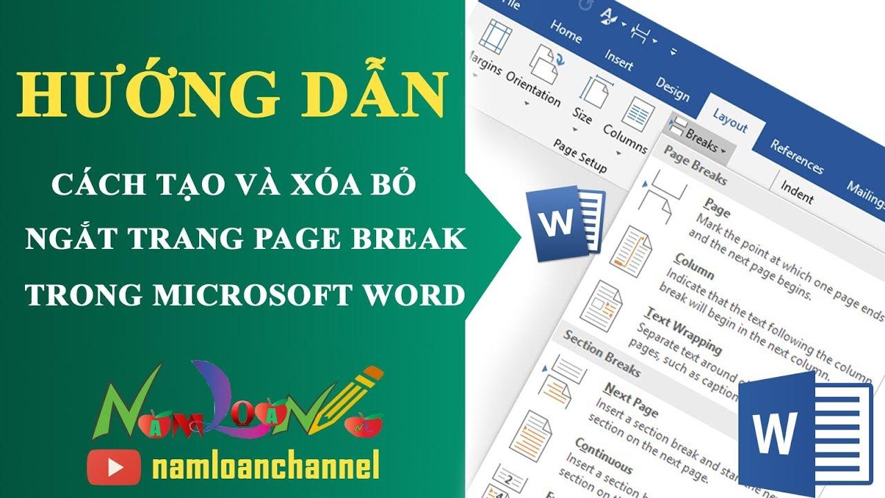 Cách tạo và xóa ngắt trang (Page break) trong Microsoft word |namloan ✔️