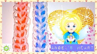 Сердце ангела из резинок на рогатке  Angel heart for kids Rainbow loom bands tutorial DIY
