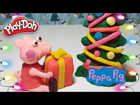 Play Doh Peppa Pig Makes Christmas Tree and Presents with Christmas Songs – Toys Videos for Kids