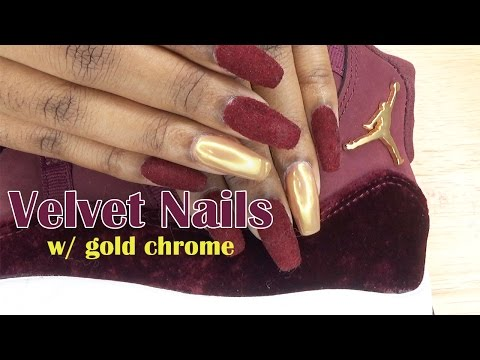 Velvet Nails w/ Gold Chrome | Jordan Heiress 11 Inspired | LongHairPrettyNails
