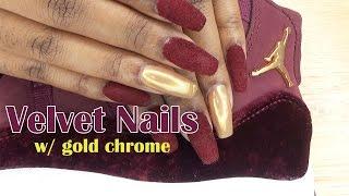 Velvet Nails w/ Gold Chrome | Jordan Heiress 11 Inspired | LongHairPrettyNails
